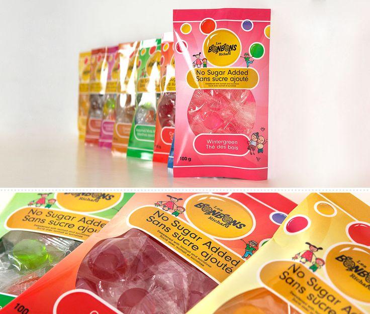 Bonbons Richard : En 2012, Bonbons Richard décide de repenser sa gamme de bonbons sans sucre dont l'emballage datait déjà de 2003, également réalisé par MSCom a l'époque. Cette fois, les couleurs vives semblent toutes appropriées pour cette nouvelle création.