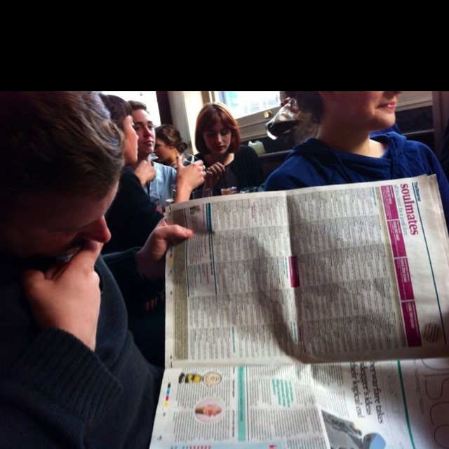 I spent the day on Sunday reading a newspaper. My friend thought it would be funny to take a photo of me reading the soulmates section of the newspaper!