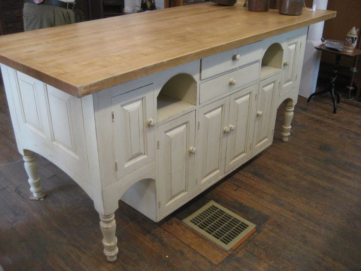 Antique 2 Side Kitchen Island Cabinet w Boos Butcher Block Top 17 Drawers | eBay
