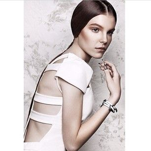 Sneak peek at our latest editorial work, RE VOLT. Get the look! White cage back dress $125, white leather bracelet $50. One of each left!