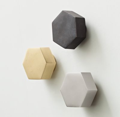 RH TEEN's Cast-Metal Hexagon Wall Hook:Put the walls to work. A study in pure geometry, our hexagons function beautifully as hooks for hats, coats, scarves and bags. Crafted of metal, their substantial weightiness speaks to their endurance.