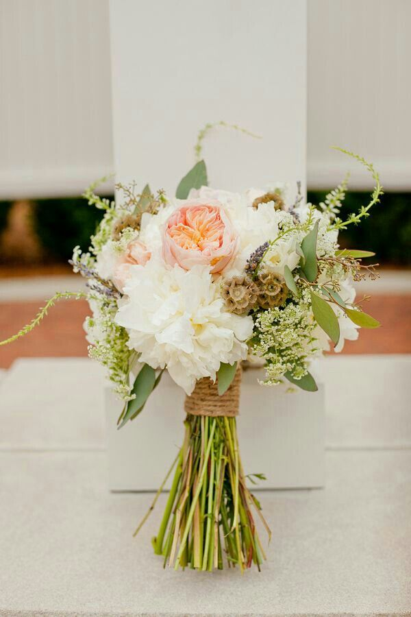 {Rustic Hand Tied Wedding Bouquet Featuring Peach English Garden Rose, White Peonies, Fresh Lavender, Scabiosa Pods, Queen Anne's Lace, Seeded Eucalyptus + Other Green Foliage}