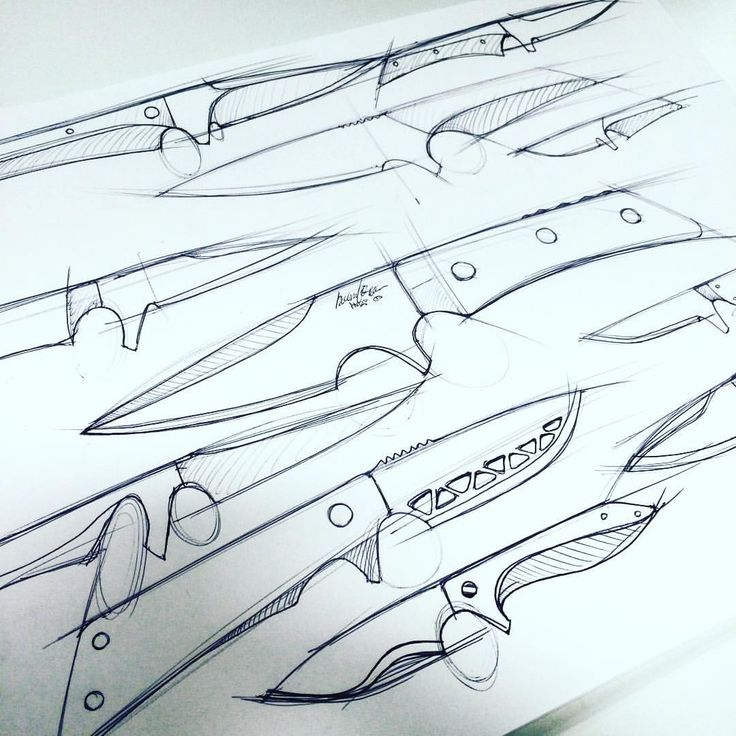 Fixed blade sketches #industrialdesign #id #sketch #knives #design #metal #idsketch