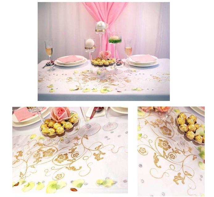 #Tischdekoration: #Organza mit #Muster:) Die Farben: #Weiß, #Rosa und #Gold :) http://www.ebay.de/usr/pressiode