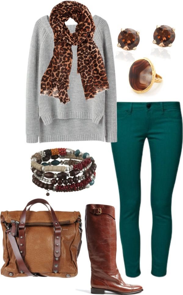 """Comfy grey sweater, teal skinny jeans brown boots."" by myfabcloset on Polyvore"