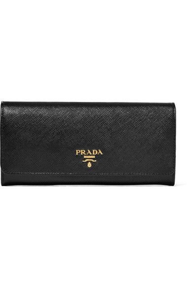 PRADA sophisticated Textured-leather continental wallet