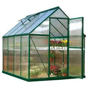 The Mythos 6' x 8' Green series hobby greenhouse gives you the extra room you need! Plus, we've taken the same features you love about the Mythos Silver like the clear, twin-wall polycarbonate panels and a downspout to collect rainwater, and added a splash of color. The U.V. stabilized green powder-coating creates a long-lasting finish that makes this house blend right into your garden setting. The clear, twin-wall polycarbonate panels on the Mythos greenhouse have twice the heat ...