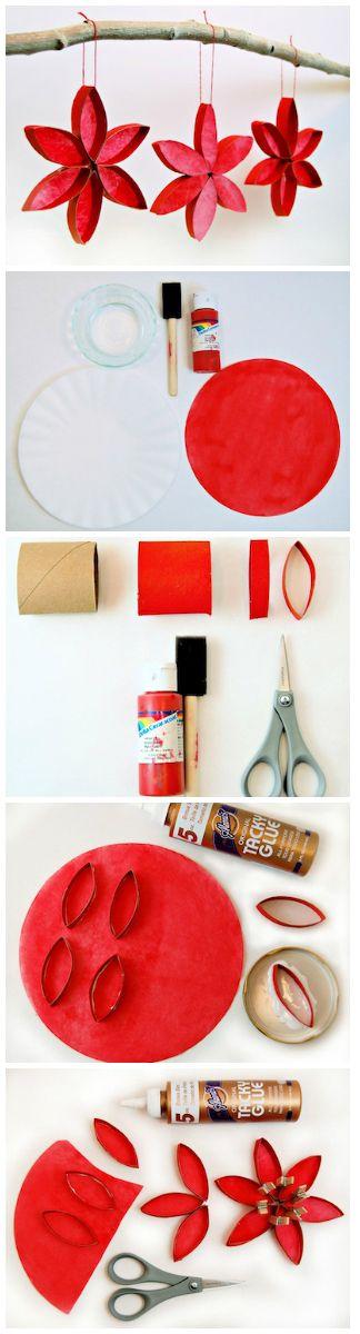 Mobile fleurs- peinture carton et rouleau papier toilette et collage