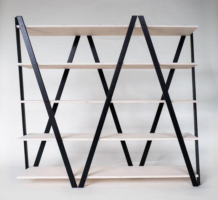 Details Zu Regal Raumteiler Standregal Stehregal Holz Design  Birkenschichtholz Schwarz Weiß