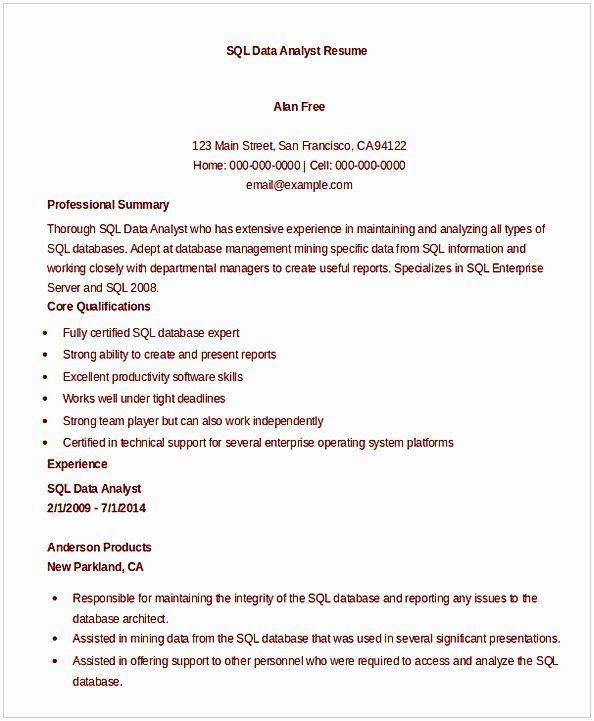 Entry Level Data Analyst Resume Inspirational Data Analyst Resume Entry Level Data Analyst Good Resume Examples Resume