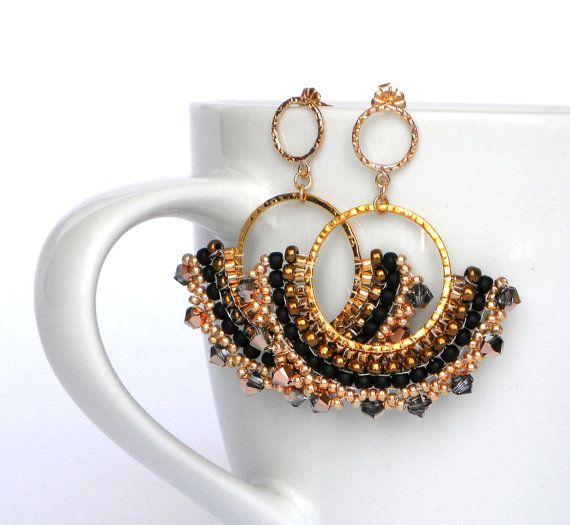 Gold filled 14k black champagne Drop Earrings by lizaluksenberg, $49.00