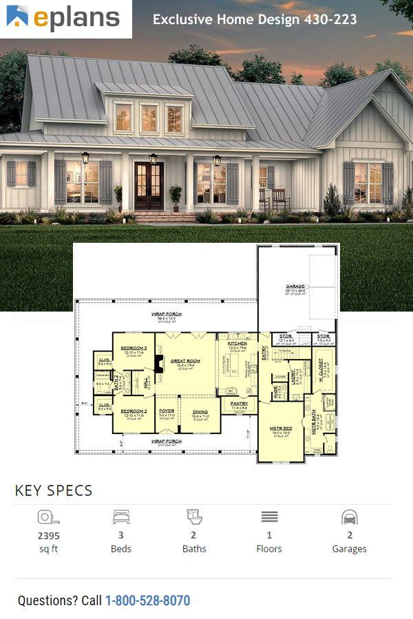 Farmhouse Style House Plan 3 Beds 2 5 Baths 2395 Sq Ft Plan 430 223 Farmhouse Style House Plans House Plans Farmhouse Farmhouse Style House Traditional style house plan 41402