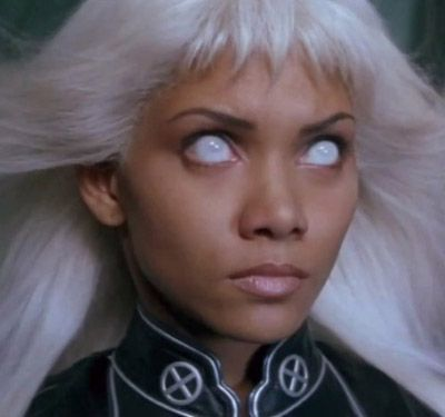 Movie stars don coloured contact lenses: Halle Berry as Storm (X-Men) #Halloween