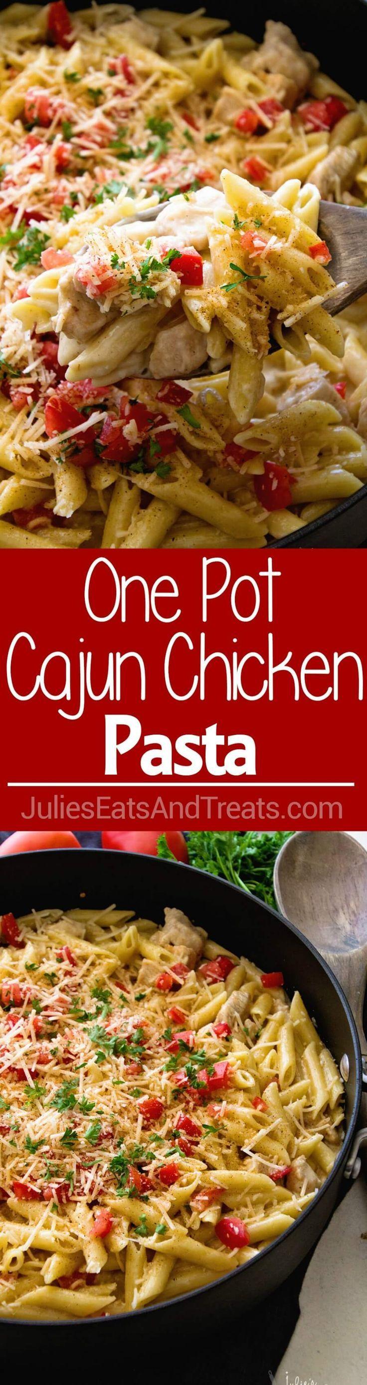 One Pot Cajun Chicken Pasta ~  Creamy Pasta Sauce with Chicken, Cheese and the…#CrystalFarmsCheese #CheeseLove #ad