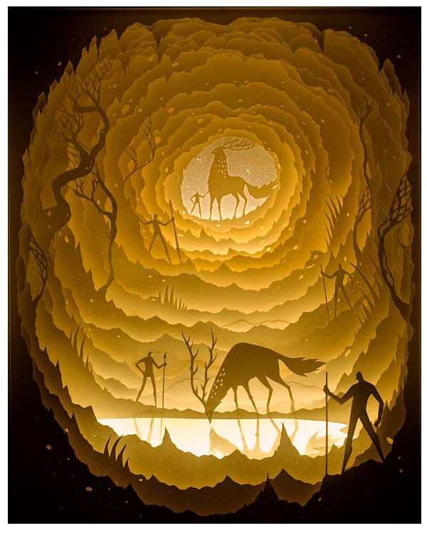 Hari & Deepti<br> Pool of Radiance<br> Hand cut paper illuminated by LED inside shadowbox<br> 12 x 16 Inches<br> 2015<br> SOLD