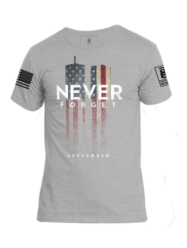 Battleraddle 9-11 Never Forget Mens Patriotic September Cotton Crew Neck T-Shirt