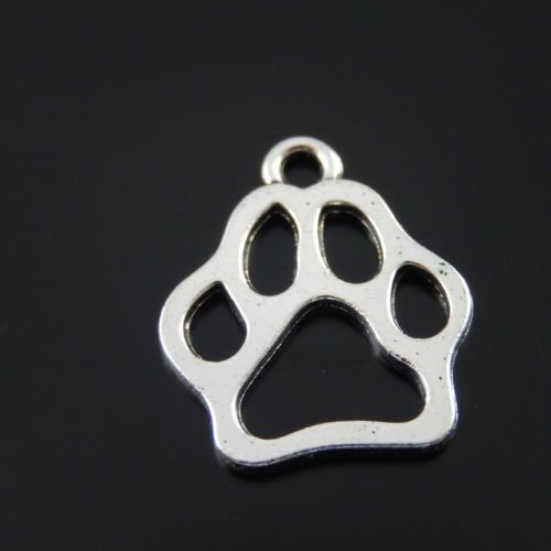 20*17mm Vintage Style Silver Tone Alloy Dog Footprint Pendants Charms 50PCS