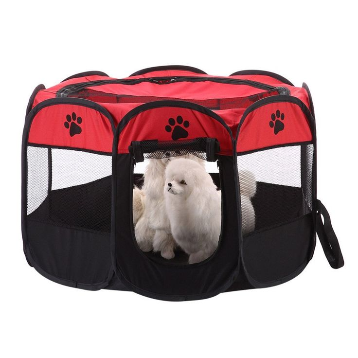 Cat House Pet PlayPen Portable Foldable Puppy Dog Pet Cat Rabbit 8-side Fabric Playpen Crate Cage Kennel by Awhao Red