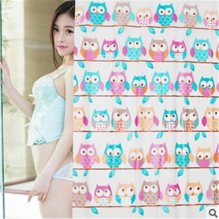 Owls Shower curtains in the Bathroom fabric Bath screens drapes rideau de douche 180X180cm asg buhos decoracion cortinas de bano