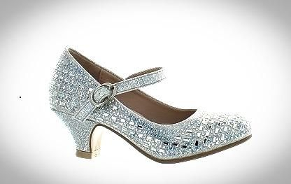 Childrens Bejeweled Silver Pageant Shoes
