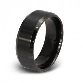 Jeulia diseño simple negro de titanio hombres de acero de la boda