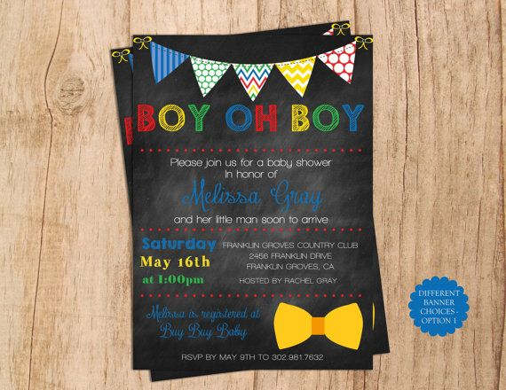 Boy Oh Boy Baby Shower Invitation  . Banner by MoonshyneDesigns