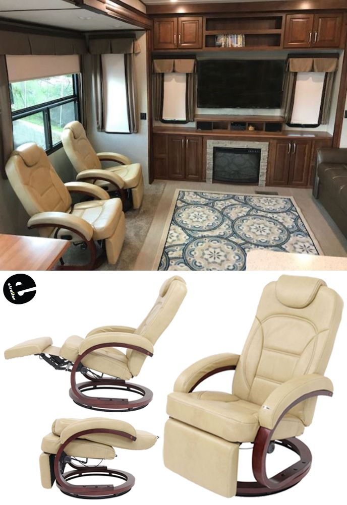 euro recliner chair and matching stool kick back relax in your rv or camper with this the 360 degree swivel base padded arm head foot rests provide ultimate