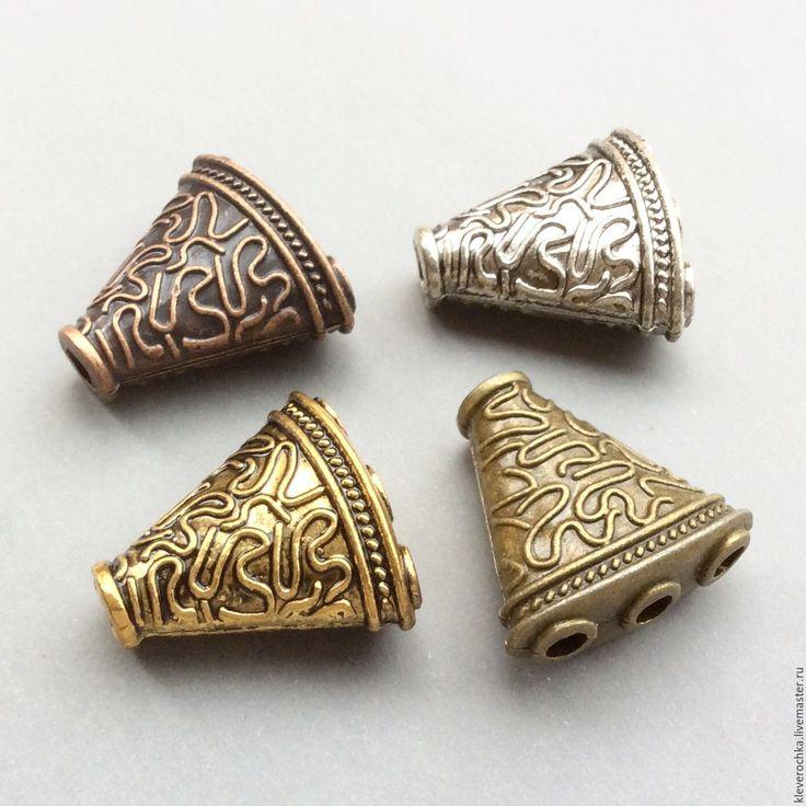 Купить _Разделители концевики 23 мм на 3 нити 4 цвета фурнитура для украшений - серебряный