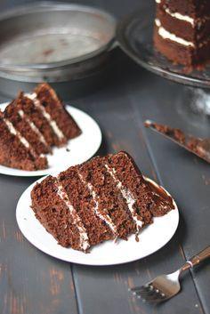 Irish Car Bomb Cake - four layers of Chocolate Guinness Cake with Bailey's Irish Cream Frosting and thick whiskey ganache