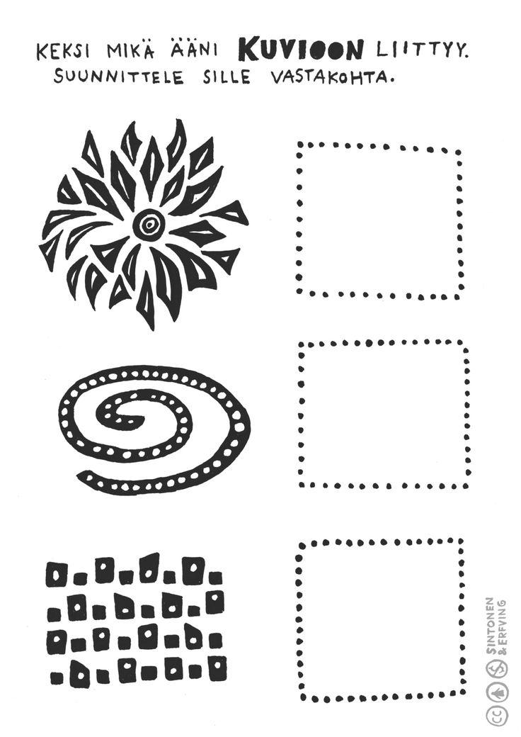 Kortti 5. Kuvassa on kolme erilaista ääntä kuvaavaa piirrosta. Miettikää ensin, miltä kuvatut äänet kuulostavat. Pohtikaa seuraavaksi, millainen ääni olisi vastakohta kuvatuille äänille. Piirtäkää keksimiänne vastakohtaääniä vastaavat kuviot ruutuihin.