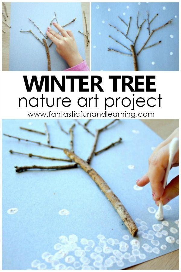 Winter tree art for children. Nature Art Project for Preschool and Kindergarten #Win