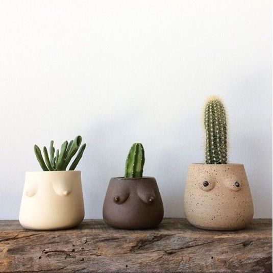 How fun are these clay pots by the creative + arti…