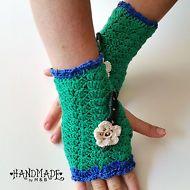Armstulpen elegant  Fingerlos Handschue gehäkelt handgemacht