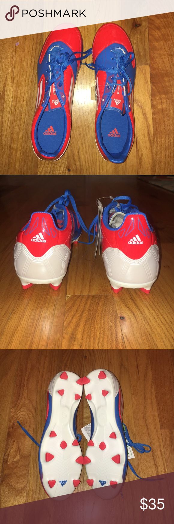 Adidas F10 Cleats with Agion Scent Protection Red, White, and Blue. Brand new with tags. Agion Powerful Scent Protection. Size 6 1/2 Mens (can be used for women, men, and children) Adidas Shoes