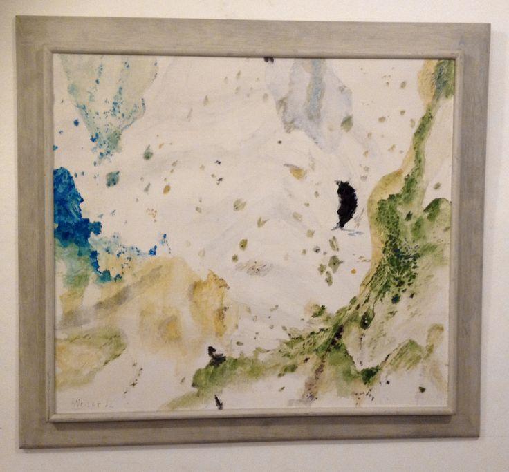 Max Weiler, (Absam, 1910 - Wien, 2001),  Zunehmender Mond, 1982, Olio su tela / Öl auf Leinwand, 86 x 96 cm