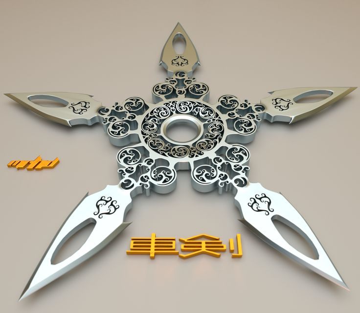 Samurai Dragon Sword W Ninja Shuriken Throwing Star pewter pendant ...