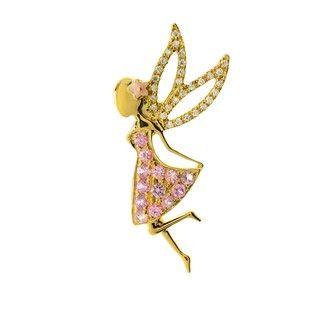 Liontin Pink Sapphire Berlian dan Emas 75% Fairy