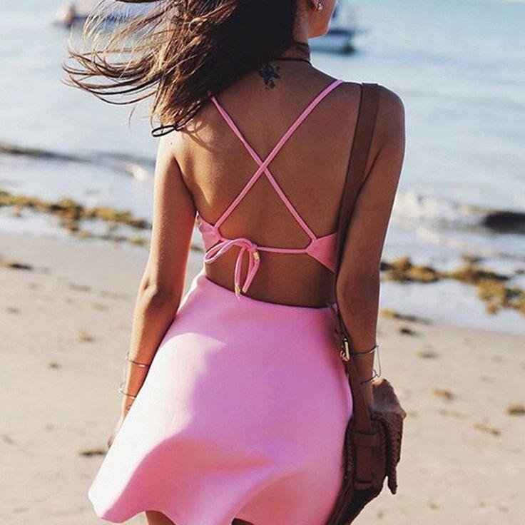 Best Price Women Fashion Sexy V-Neck Backless Back Lacing Swing Dress Casual Beach Style Halter Dress Size S-XXL Mini Dress