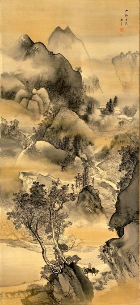 """ Art is a collaboration between God and the artist, and the less the artist does the better. ""- Gide. KAWABATA Gyokusho(川端 玉章 Japanese, 1842-1913)"