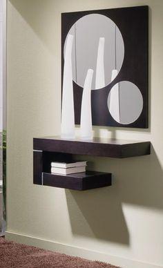 Floating shelf mirror