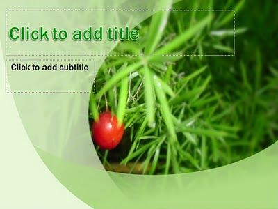 Simple and green nature template, red fruit background, special background for title slide, 2 different background, default and standard font, custom title text with wordart style, compatible for any presentation, easy to use.