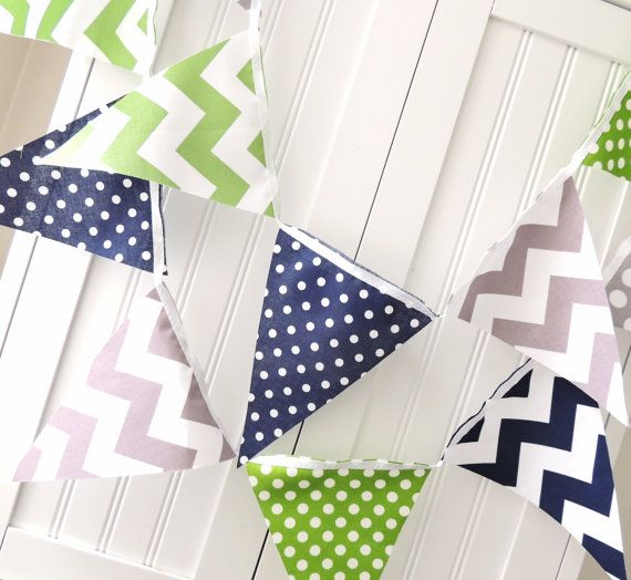 Bunting Banner Fabric Pennant Flags Green by vintagegreenlimited
