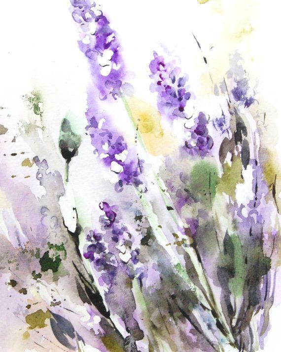 Lavender Flowers Watercolor Painting Art Print, Watercolor Floral Modern Watercolour Wall Art