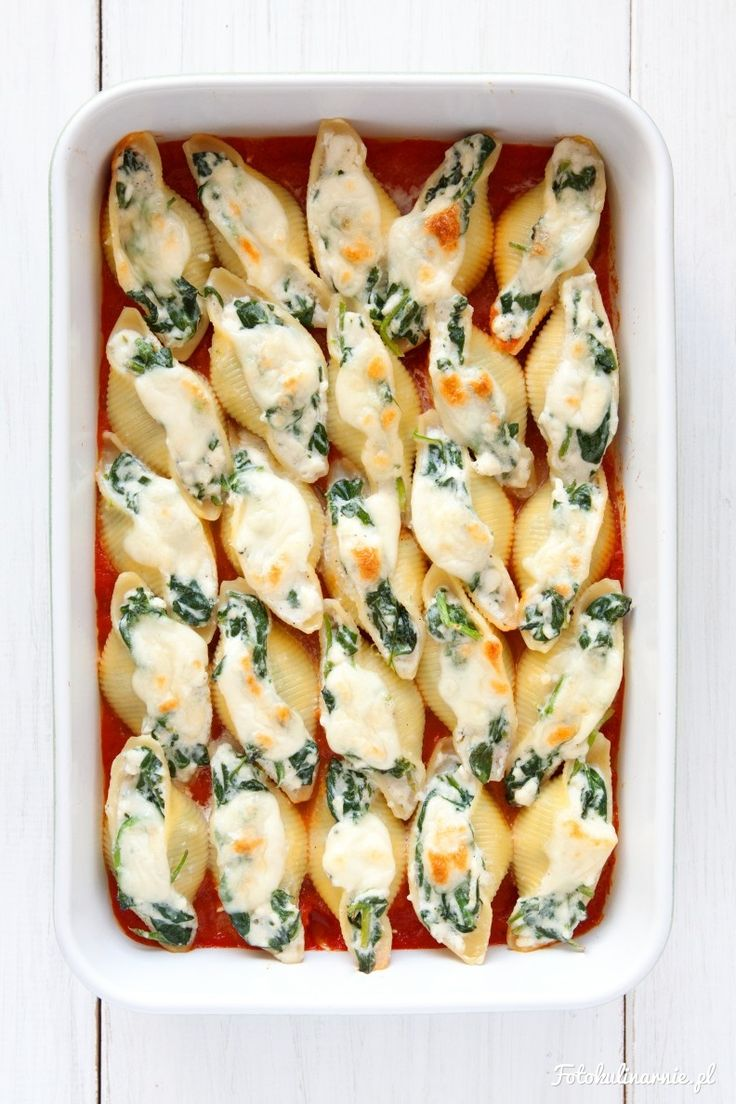 Spinach and Feta Stuffed Shells in Tomato Sauce with Grilled Mozzarella.