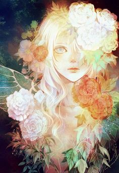 Beautiful anime girl with flowers!  Wonderful Art.