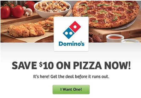 Act Fast – $10 off $10 Dominos Pizza Coupon (first 10,000 Responders)