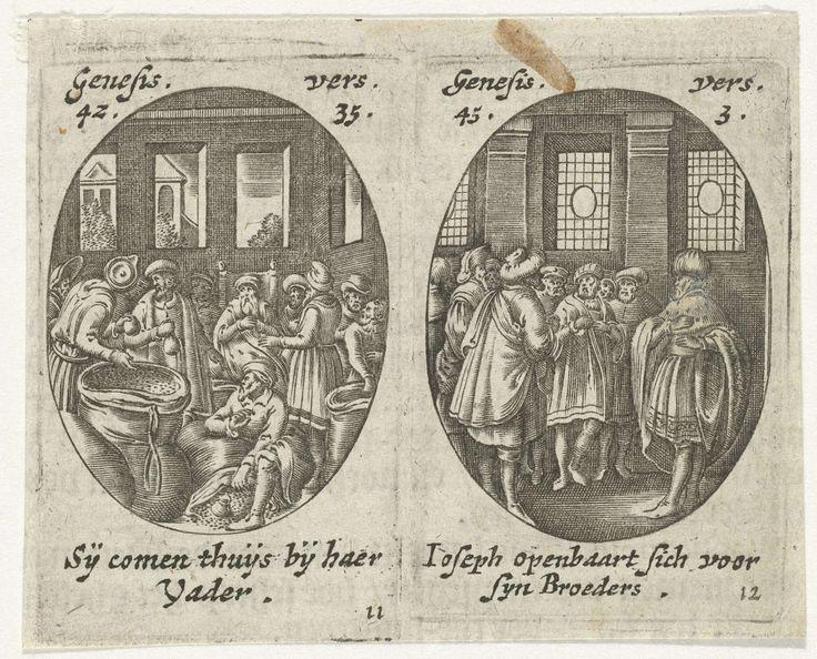 Hans Janssen | Jozef's broers ontdekken zakken met geld / Jozef maakt zich aan zijn broers bekend, Hans Janssen, 1615 - 1651 | Twee afdrukken op één blad in ovaal. Links een interieur met Jakob, zittend op een stoel, en zijn zonen. In de zakken met koren ontdekken zij zakken met geld (Gen. 42-35). Rechts een interieur met Jozef die zich aan zijn broers bekend maakt (Gen. 45-3). In de marges onderschrift in het Nederlands. Elfde en twaalfde prent (11 en 12) uit een serie van twaalf met scènes…
