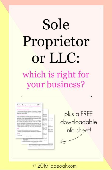 Sole Proprietor or LLC: Which is Right for YOUR Business? Learn about both business types and the pro's/con's of each. Perfect for bloggers and small biz owners - this guide is written by a fellow blogger (and attorney). PLUS Includes a downloadable info sheet!!