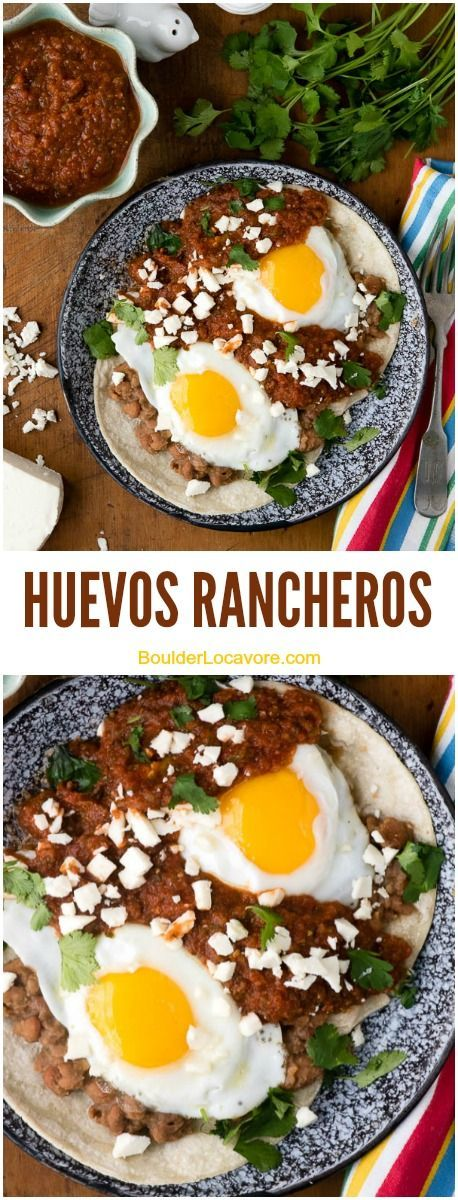 Huevos Rancheros. A spicy, hearty breakfast of fried eggs, smashed pinto beans, corn tortillas and easy homemade sauce! | Boulder Locavore