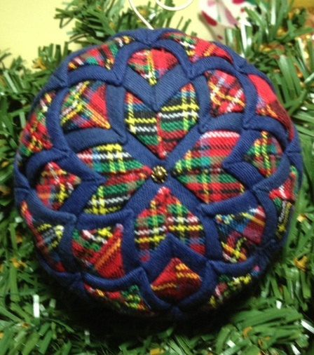 Handmade Quilted Navy Blue and Red Plaid Christmas Ornament by ForTheLoveOfPlaid on Etsy https://www.etsy.com/listing/203783994/handmade-quilted-navy-blue-and-red-plaid